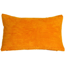 Pillow Decor - Wide Wale Corduroy 12x20 Light Orange Throw Pillow - $29.95