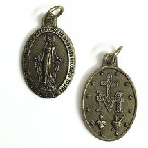 "Miraculous Our Lady of Grace Madonna Mary Italian Medal Pendant Brass Tone 1"" - $6.99"