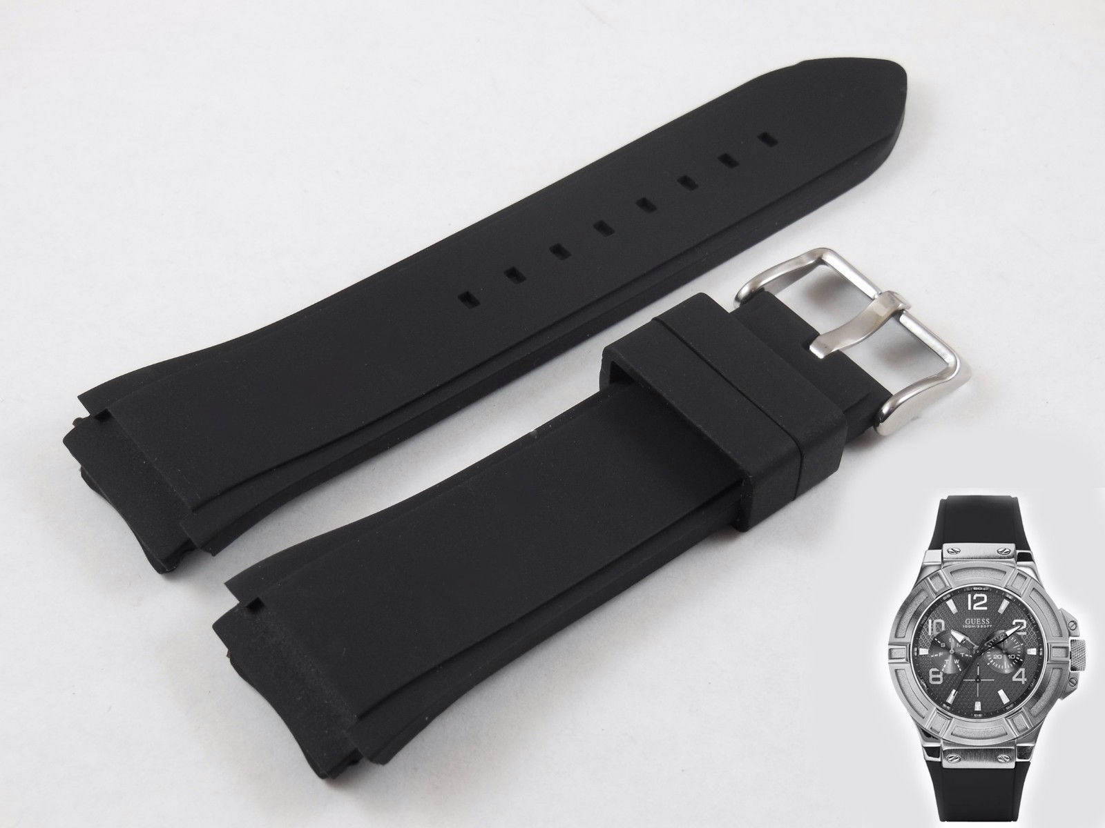Black Rubber Watch Strap Band For Guess 22mm Navitimer W0247G4-W0040G5-W0040G1