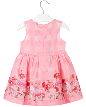 Mayoral Little Girls 2T-9 Floral Border Organza Check Social Party Dress image 2