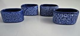 Napkin Rings Oval Fine Porcelain Cobalt Speckle Handmade In Philippines ... - $15.66