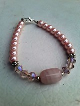 Pink Dream Beaded Handmade Bracelet with Silver color and Pink Crystals - $7.00