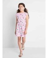 Gap Kids Girls Cross Back Pink Vacation Print Cap Sleeve Cotton Dress 6 7 8 10 - $19.99