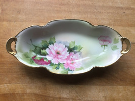 Vintage Candy Appeitzer Peony Oval Gold Trim Scalloped Dish Handpainted -Nippon - $27.71