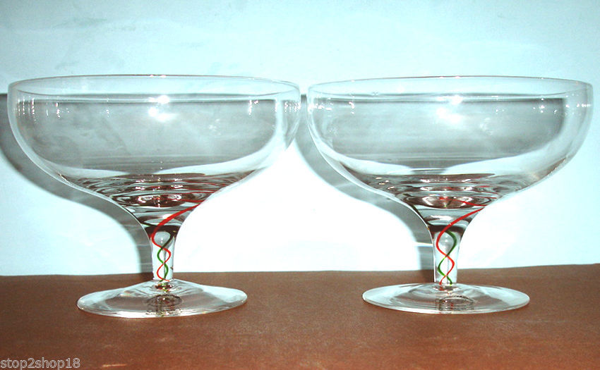 Lenox Holiday Ribbon Footed Crystal Compote Dessert Bowl Set of 2 Glasses New image 4