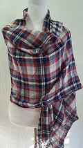 New Armani Jeans Double Sided Check Plaid Long Scarf Lightweight 100% co... - £5.29 GBP