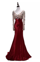 Rosyfancy Burgundy V-neck Beaded Tulle Long Sleeves Satin Mermaid Evening Dress - $275.00