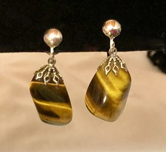 Vintage Tiger's Eye Nugget Gemstone Screw Back Dangle Earrings Silver Tone - $12.70