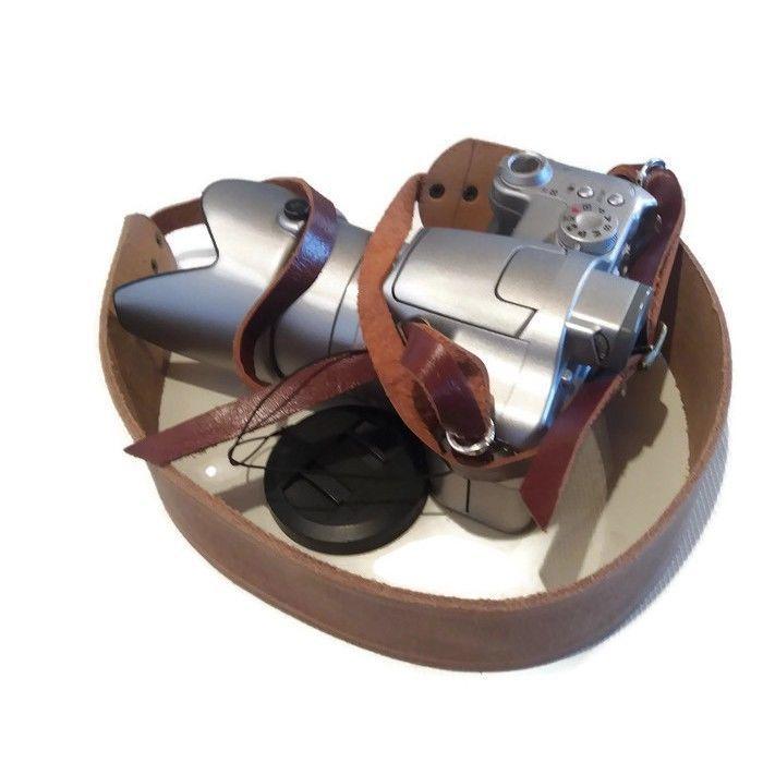 Leather Camera Shoulder Strap , DSLR camera strap , Distressed Brown Leather - $32.28