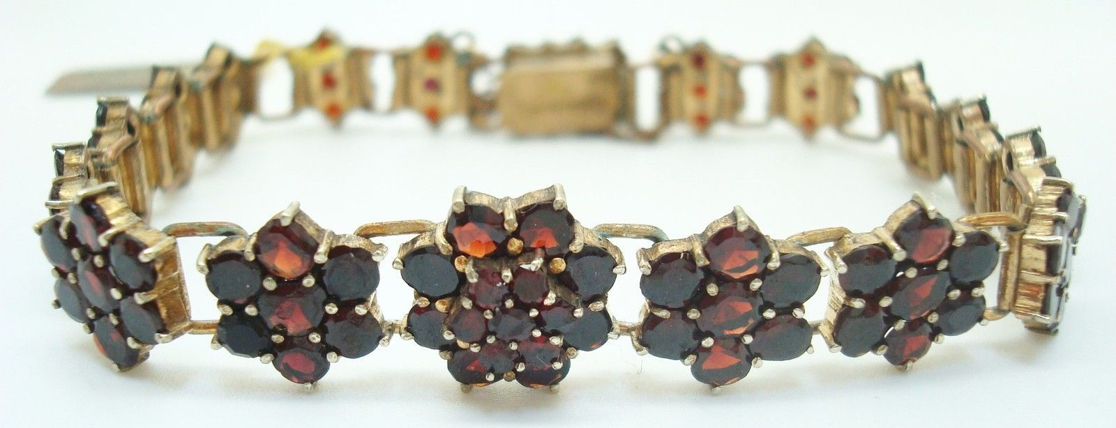 Genuine Natural Bohemian Garnet Bracelet with Safety Chain (#2500)
