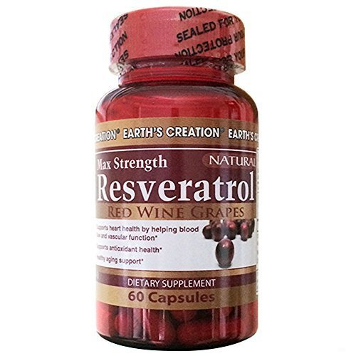Earth's Creation Resveratrol 500mg - Anti-aging, Anti-oxidant - 60 Capsules