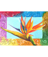 Akimova: BIRD OF PARADISE, still life, red, green, watercolor, ACEO - $4.50