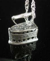 800 silver Iron Charm pendant necklace sad iron Vintage Tailor Seamstress Crafte - $110.00