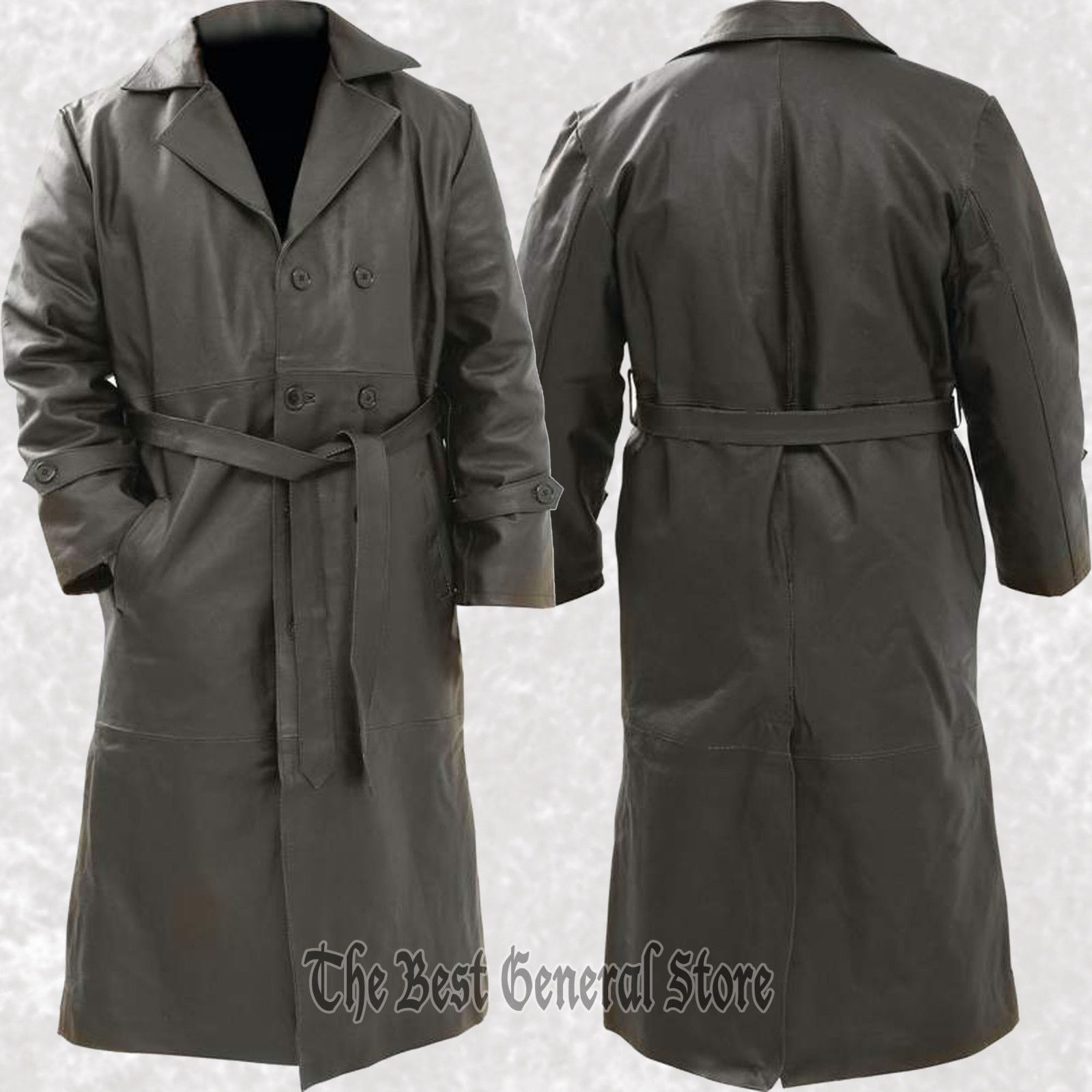 Mens Black Solid Leather Long Trench Coat Duster Double Breasted Belted