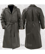 Mens Black Solid Leather Long Trench Coat Duster Double Breasted Belted - $72.95