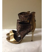 Women's Bronze Leather And Animal Print Fabric Heels Size 8 New - $33.65