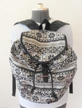 Roxy Backpack Book Bag Black & White Geometric Design Cotton Blend - $29.69