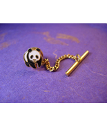 Vintage PANDA Tie clip Hickok tie tack Bear enamel  Button with chain - $85.00