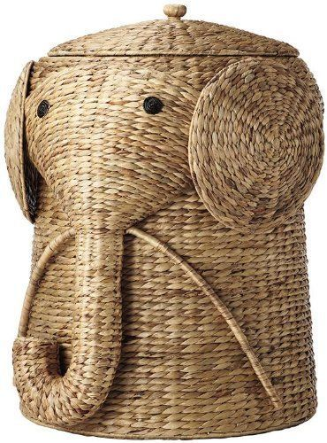 Wicker clothes hamper elephant laundry and 50 similar items - Elephant hamper wicker ...