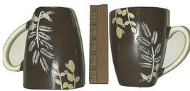 Lot of 2 California Pantry Branch Leaf Design Mug Cup Leaves Brown with ... - $35.15