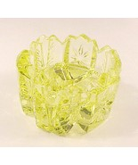 Yellow Vaseline Art Glass V Open Salt Dip Cellar - $7.00