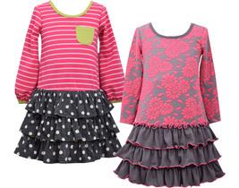 Little Girls 2T-6X Long-Sleeve 3-Tier Drop Waist Knit Dress