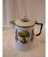 Vintage Georges Briard Designer Enamel Large Coffee Pot Corn Pattern - $29.98