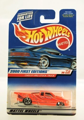 Hot Wheels - 2000 First Editions - Chevy Pro Stock Truck - Neon Orange - Coll...