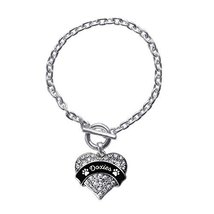 Inspired Silver Doxies - Paw Prints Pave Heart Toggle Charm Bracelet Wit... - $13.71