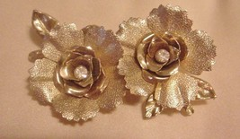 Vintage CORO Brooch Pin Flowers Rhinestones Gold-Tone Brushed Gold - $35.56