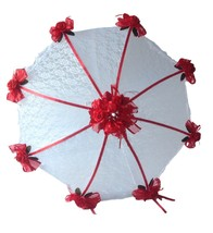 "32"" Bridal Shower Wedding  Lace & red roses Umbrella - $28.66"