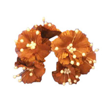 36 Silk Daisy Flower Favor Picks With Center Pearls - Brown - $7.92