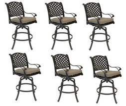 Nassau bar stools set of 6 swivel cast aluminum outdoor patio furniture image 1