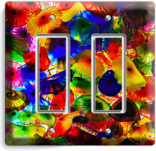 Colorful Murano Glass Double Gfi Light Switch Wall Plate Cover Living Room Decor - $10.79