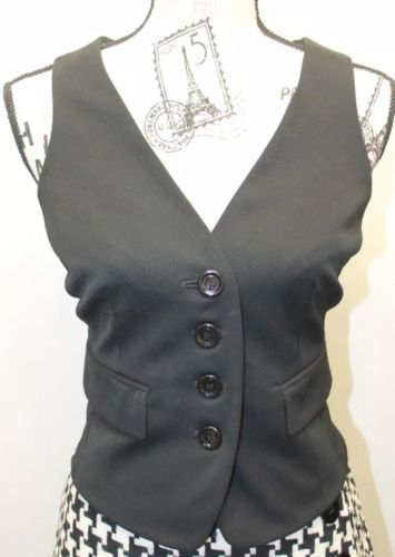 INC Sexy International Concept Ladies Black 6 Bottons Adjustible Corset Vest 4