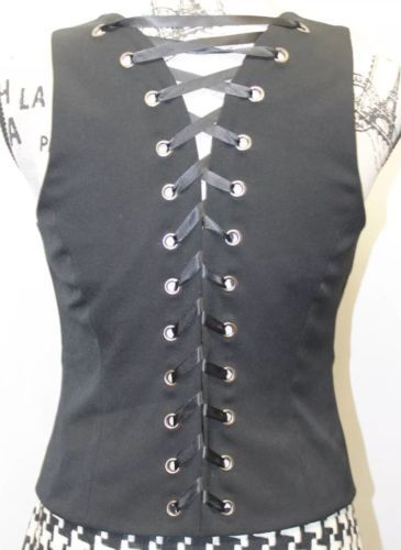 INC Sexy International Concept Ladies Black 6 Bottons Adjustible Corset Vest 4 image 4