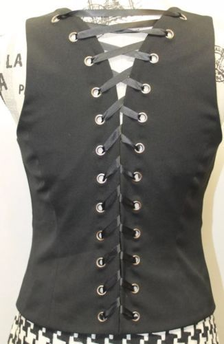 INC Sexy International Concept Ladies Black 6 Bottons Adjustible Corset Vest 4 image 6