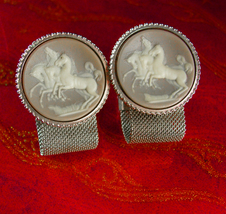 CAMEO Cufflinks wild horse Mesh wrap Vintage Mythical  Collectors silver  Cuff l - $110.00