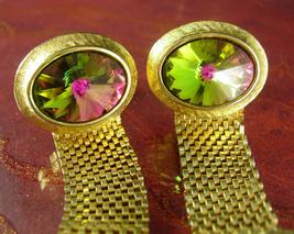 Vintage Prism cuff links Watermelon Rivoli Cufflinks Wrap Mesh Wedding Groom Bir - $110.00