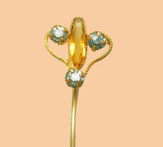 Antique Citrine Stickpin Victorian mens lapel pin  nouveau stick pin 13t... - $95.00