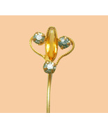 Antique Citrine Stickpin Victorian mens lapel pin  nouveau stick pin 13t... - $95.00