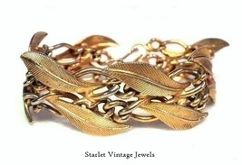 50's Vintage Gold Leaf Chain Link Bracelet with... - $29.00