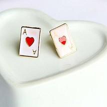 Women's Poker Shape enameled earrings (One pair with Random Color) [Misc.]