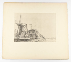 """""""The Windmill"""" By Rembrandt Restrike Etching 6""""x8"""" - $950.40"""