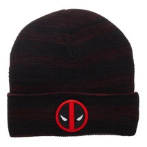 a6770349d76c7f Marvel Comics Deadpool Fly Knit Embroidered Logo rolled cuff Beanie Biow...  - $19.31