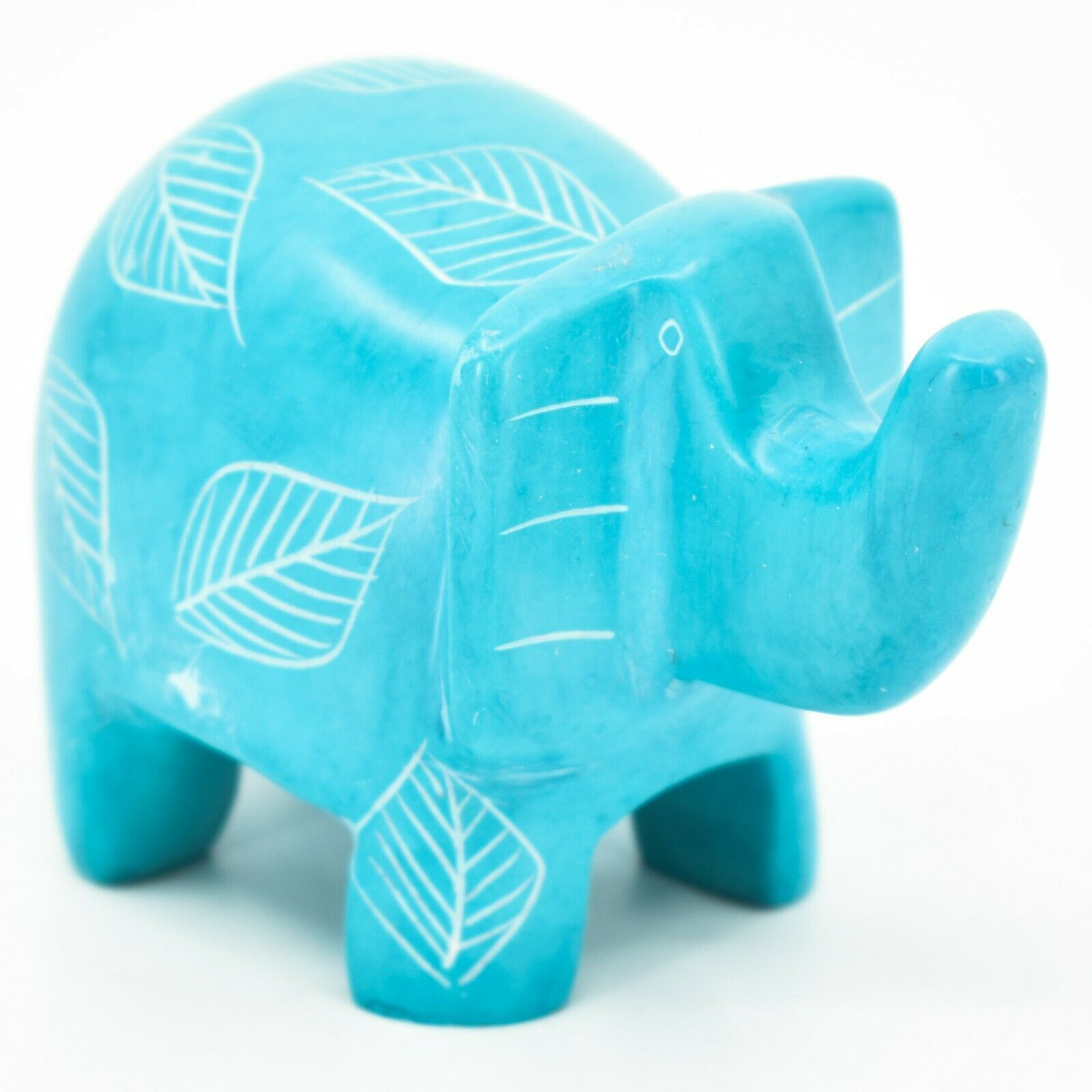 Vaneal Group Hand Crafted Carved Soapstone Sky Blue Elephant Figurine Made Kenya