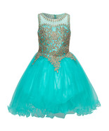 Aqua Fabulous Gold Trimmed Corset Back Closure Wired Tulle Skirt Girl Dress - $88.99 - $93.99