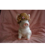 Piggy Bank With an Old Straw Hat - $30.00