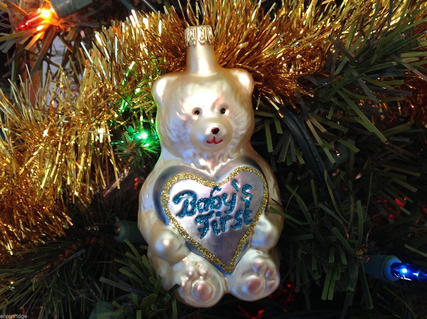 Babys First Bear Old German Christmas Glass Tree Ornament Handmade