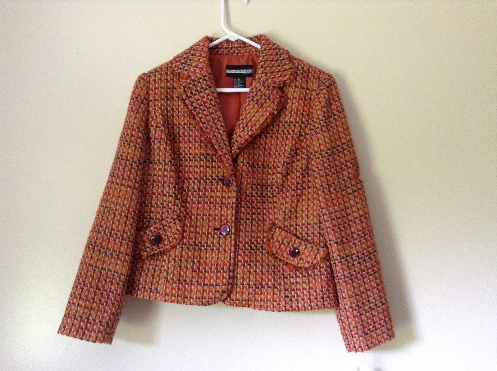 Requirements Jacket Blazer Red Purple Orange Pink Size 10 Petite New with Tags